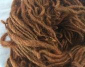 Ochre lincoln  wool and mohair yarn single ply bulky yarn 66 yards felting needlfelt hair dreads rare breed sheep  chunky knit
