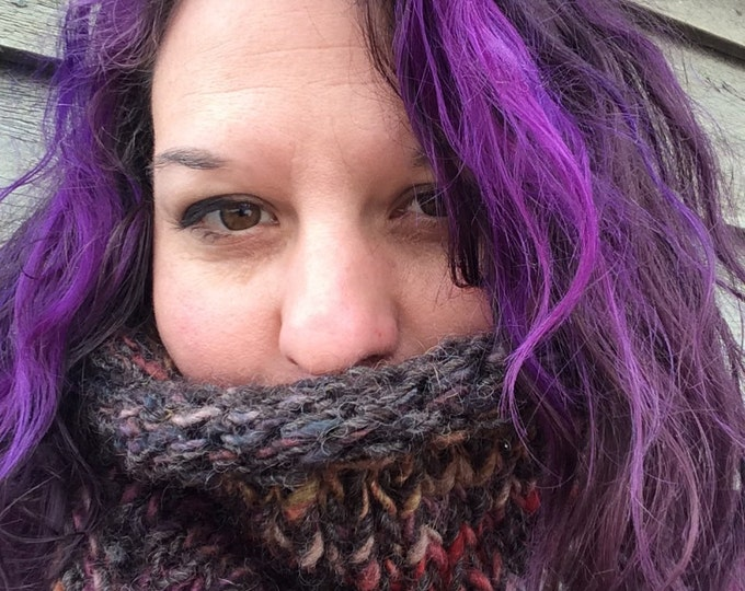 Handspun handknit wool and mohair cowl