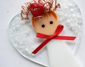 004 - Valentine Angel, Fused Glass Angel, Glass Angel, Angel Ornament, Fused Glass, Handmade, CGGE, TT, Circle Clickers