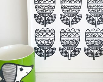 New Retro Tulip Pattern A4 screen prints by Jane Foster Monochrome signed limited edition