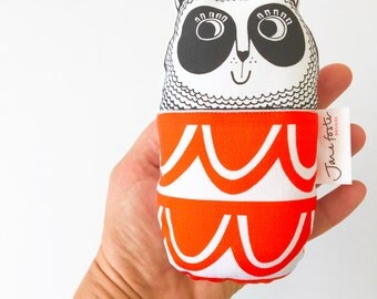 Screen printed handmade toy Panda plush toy softie with Scandi patterned fabric by Jane Foster