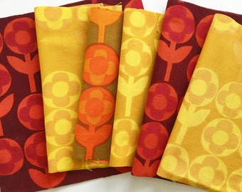6x Vintage 60s Heals fabric squares called Verdure by Peter Hall - for small sewing projects Pack D