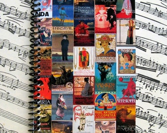 Opera Poster Mosaic Spiral Bound Journal, Writing Journal, Blank Sketchbook, Pocket Notebook A6, Cute 4x6 Inches Diary, Paper, Gift Under 20