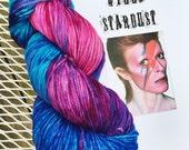 Ziggy Stardust, Hand painted Yarn, Fuscia, Blue, Turquoise, Rhumba