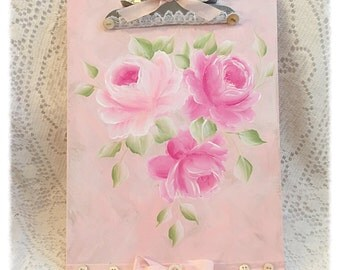 CLIPBOARD Shabby Standard Clip Board Hand Painted PINK Roses svfteam sct ecs schteam