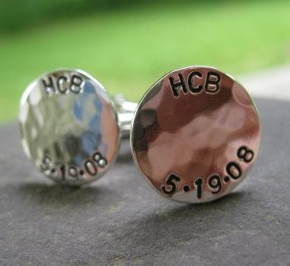 Sterling Silver Personalized Hammered Cufflinks . custom engraved with initials and dates . groomsmen gift . husband gift . wedding gift