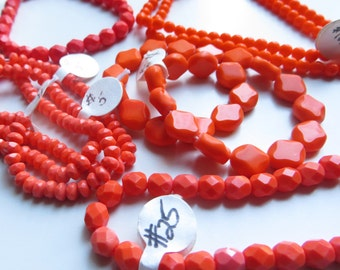 Peach & Orange Czech Glass Beads - 7 Strands