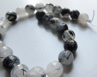 8mm Faceted Tourmalated Quartz  Beads, Half Strand