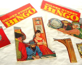 Cardboard Cutout Scrap Paper Western Style Lithographs old 1960s Bingo Game Box
