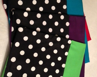 24 CHAIR POCKETS Durable black & white Cotton Polka dot print with black,  green,  orange, lime green,  blue  backers