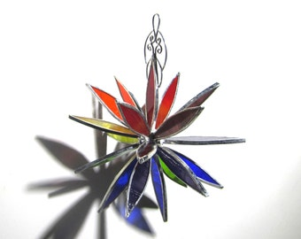 Rainbow Blast - 3D Stained Glass Flower Burst - Medium Colorful Abstract Home Garden Decor Suncatcher Hanging Ornament (READY TO SHIP)