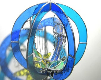 Deep Blue Sea - Stained Glass 3D Sphere - Medium Round Jellyfish Ocean Beach Sea Turtle Nature Scene Suncatcher Home Decor (READY TO SHIP)