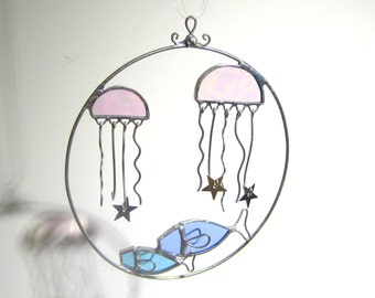 Wondrous Sea - 3D Stained Glass Nature Spinner - Jellyfish Star Fish Ocean Beach Hanging Wire Suncatcher Ornament Yard Art (READY TO SHIP)
