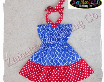 2T 24 month 3T 3 ONLY Clearance Boutique Clothing GIRL Halter Dress Summer Fourth 4th of July Red White Blue Birthday Size 24 month 2 2T 3