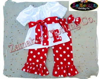 Custom Boutique Girl Outfit Pant Set Red Polka Dot Letter Number Initial Top Toddler Ruffle Set Size 3 6 9 12 18 24 month 2t 2 3 45 6 7 8 t