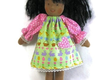 10 to 11 inch Waldorf Spring Easter Egg Basket thin doll dress, toy clothing, puppen doll dress, slim doll dress