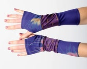Purple fingerless gloves, Long purple jersey armwarmers, Blue and purple patchwork armwarmers, jersey armwarmers