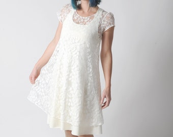 Sheer white dress, White lace dress for layering, Short sleeved white lace dress, Sheer womens dress, Simple wedding dress