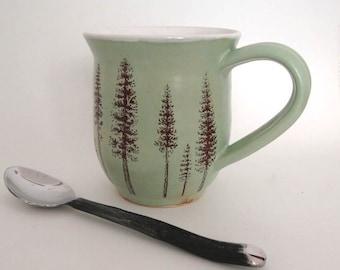 Ceramic Mug - Ponderosa Pine Trees -  Coffee Mug - Large Mug - Hand Thrown Mug