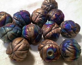 12 Large Round Raku Beads, Loose Beads, Ceramic Beads, Clay Beads, Rustic Beads,Boho Beads, Bead Supplies (A12)