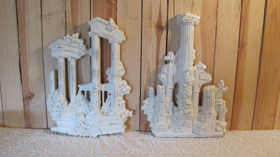 Roman ruins architecture columns vintage homco home decor wall for Column decorations home
