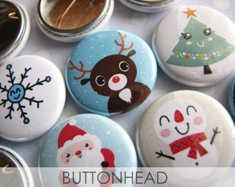 Cute Christmas Party Favors - Kawaii 1 Inch Buttons Pins (Set of 10)