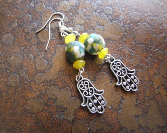 Picasso Hamsa Beaded Dangle earrings