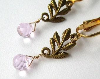 Golden Leaves Clip Earrings, Pink Faceted Teardrop Earrings for Non Pierced Ears, Brass Branches, Pale Pink Stones Clip On Earrings, Sylvan