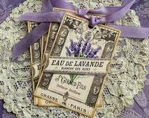 French Lavender Label Tags - Eau de Lavande Tags - Lavender, Purple, Vintage Perfume Label, Set of 4 Tags