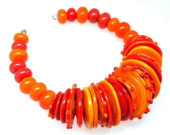 Pearly orange and red disc and round set of 40 Lampwork beads SRA mto  made by pearly karpel MTO Lampwork Bead glass beads jewelry supplies,