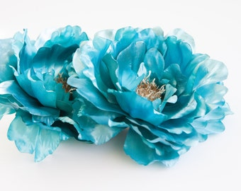 Large Metallic Peony in Turquoise Blue - 6 inches - ITEM 0529