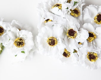 18 Small White Flowers on Wire Stems  - Artificial flowers, Floral Crown supplies , Millinery Supplies - Bouquet Filler  ITEM 057
