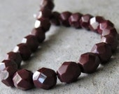 Czech Bead 6mm Opaque Cocoa Brown Faceted Round : 25 Czech Glass 6mm Brown Beads