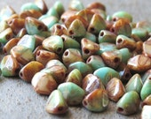Turquoise Beige Picasso 5mm Czech Glass Pinch Bead Mix : 30 pc Full Strand 5mm Pinch