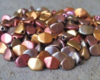 Metallic 5mm Czech Glass Pinch Bead Mix : 30 pc Full Strand 5mm Mix