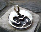 ON SALE Silver Om Charm, PMC Fine Silver, Yoga Jewelry