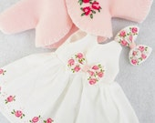 """CHOICE Of COLOR Handpainted Roses Dress For 14"""" Doll Wellie Wishers 10"""" Ann Estelle 8"""" Ginny Betsy McCall Doll Clothes"""