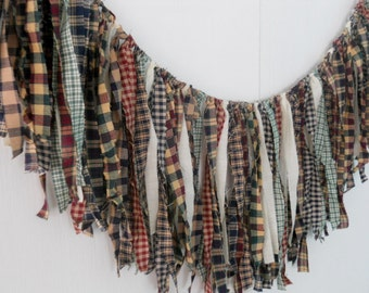 Primitive Country Decor Homespun Rag Tie Garland Curtain Banner Farmhouse Wedding Fringe Valance Bunting Swag Photography Prop Photo Booth