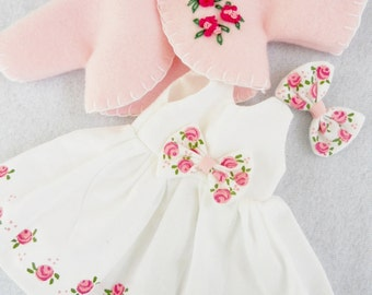 "CHOICE Of COLOR Handpainted Roses Dress For 14"" Doll Wellie Wishers 10"" Ann Estelle 8"" Ginny Betsy McCall Doll Clothes"