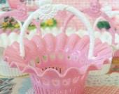 Sale / Vintage / Party Favors / Plastic Nut Cup Baskets / Set of Six / Clown Motif Handles / Pink and White