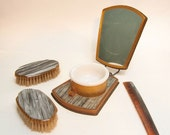 Vintage Folding shaving kit mirror with With Cup and brushes Gray Gold  Travel