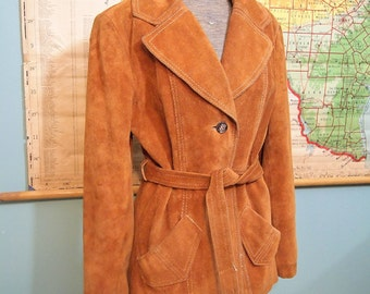 Free Shipping  LEATHER JACKET Brown Tan  Suede - fully lined  Retro Fashion Look size 11 - 12 Buttons and belt