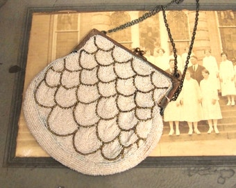 Lovely beaded bag flapper France French Purse Made in France