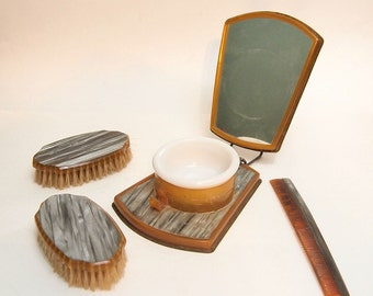 Free Shipping  Vintage Folding shaving kit mirror with With Cup and brushes Gray Gold  Travel