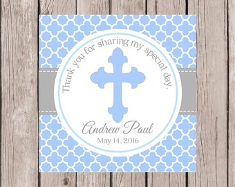 PRINTABLE Baptism Favor Tags in Blue and Gray / Print Your Own Stickers for Christening, Communion, Baby Dedication, Confirmation & More