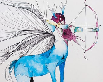 Sagittarius- astrology art print and original