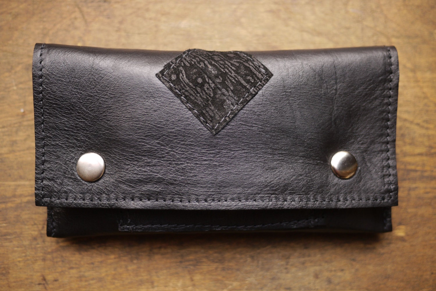 One-of-a-kind UPCYCLED Black Leather Tobacco Pouch with Diamond Detail
