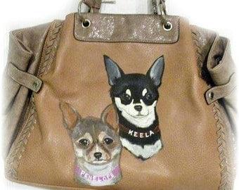 Custom Chihuahua  Hand Painted Handbag Purse