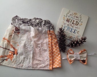 Sparrow + Orange Dot Girls skirt w/ Lace pocket.