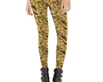 Bats Animal Pattern Leggings  Made in USA